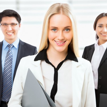 Group of business people with business woman leader on foreground
