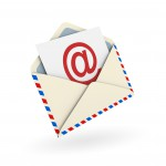 Email envelope on white background. Digitally generated image